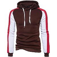 Challyhope Men Fashion Autumn Winter Patchwork Hoodie Sweatshirt Pullover Blouse Tops