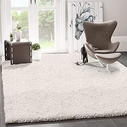 VIMODA Prime Shaggy Teppich Weiss Creme Hochflor Langflor Teppiche Modern  für Wohnzimmer Schlafzimmer, Maße:40x60 cm