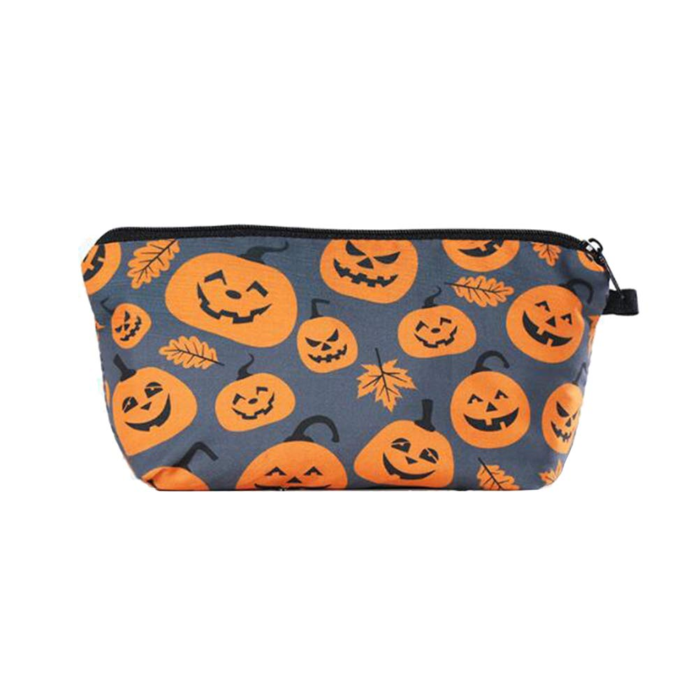 Makeup Toiletry Pouch Pumpkin Printing Cosmetic Bag Zippered Halloween Customized Cosmetic Bag for Women Storage