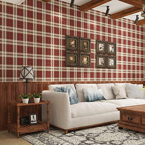 (Non-Woven Wallpaper Scottish Pastoral Plaid Style Paper For Living Room Bedroom Background Wall Decoration 0.5310m/roll (Color : Red))