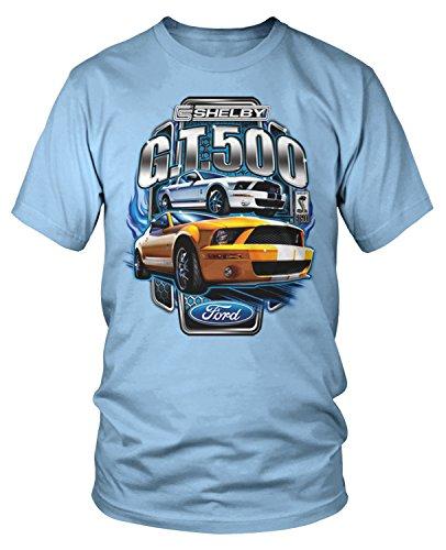 Amdesco Men's Ford Shelby Mustang GT500 T-Shirt, Light Blue XL ()