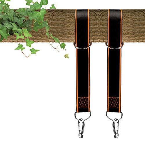 Tree Swing Hanging Kit Set of 2-Extra Long 10 ft Swing Straps-2 FREE Carabiners-Orange (Free Extra Strap)