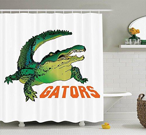 [Reptile Decor Shower Curtain Set Grumpy Alligator Has a Word Gator Crocodile Humor Wild Life Safari Aquatic Print Bathroom Accessories Green Orange] (Grumpy Cat Costume Ideas)