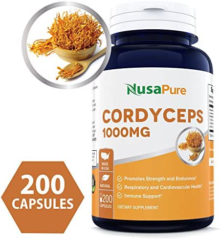 Best Cordyceps Extract 1000 mg 200 Capsules (Non-GMO & Gluten Free) Cordyceps Sinensis - Healthy Immune Support, Energy & Immunity Booster - 100% Money Back Guarantee Order Risk Free!