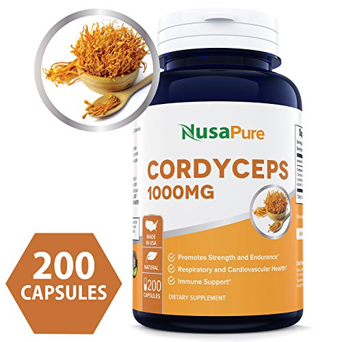 Best Cordyceps Extract 1000 mg 200 Capsules (Non-GMO & Gluten Free) Cordyceps Sinensis - Healthy Immune Support, Energy & Immunity Booster - 100% Money Back Guarantee Order Risk Free! ()