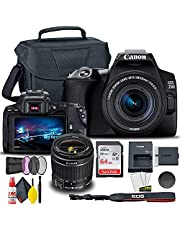 Canon EOS 250D / Rebel SL3 DSLR Camera with 18-55mm Lens + Creative Filter Set, EOS Camera Bag + Sandisk Ultra 64GB Card + 6AVE Electronics Cleaning Set, and More (International Model) (Renewed)