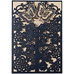 Wishmade 50Pc Blue Wedding Invitation 5D Laser Cut Butterfly Floral Gate Dinner Party Bridal Shower Birthday Card Sleeve CW7085B
