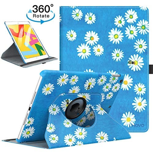 """TiMOVO Case for New iPad 7th Generation 10.2"""" 2019, 360 Degree Rotating Stand Leather Protective Cover, Smart Swivel Case with Auto Sleep/Wake Fit iPad 10.2-inch Retina Display - Daisy Garden"""