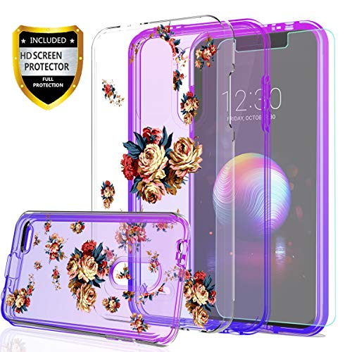 LG K30 Phone Case,LG Harmony 2/LG Phoenix Plus/Premier Pro Case for Girls,with HD Screen Protector,YmhxcY[Hard PC Back Flower and TPU Two-color gradient]Protective Cover For LG K10 2018-GC - Flower Phoenix