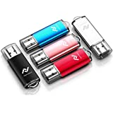 5 X 32GB USB2.0 Flash Drive Bulk Thumb Drive Jump Drive Memory Drive with LED Light (5 Pack,Black,Red,Blue,Rose Gold,Silvery)