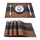 Top Finel Placemats Table Mats Woven Kitchen Table Insulation PVC Wipable Stain Resistant,Brown&Black,Set of 4