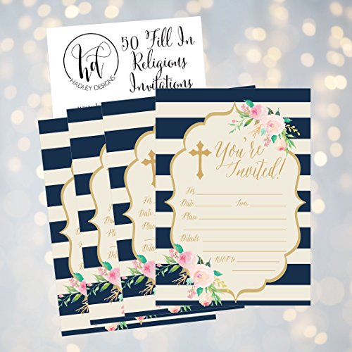 50-Navy-Religious-Invitations-Confirmation-Holy-Communion-Baptism-Christening-Baby-Dedication-or-Blessing-Reconciliation-1st-First-Communion-Invites-Easter-Party-Invitation-Cards