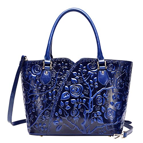 PIJUSHI Designer Handbags For Women Floral Purses Top Handle Satchel Handbags (22328 blue)