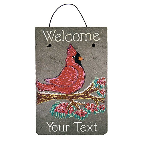 - Cohas Personalized Welcome Sign on 8 by 12 inch Slate Board with Hand-Painted Cardinal on Branch and Custom Text