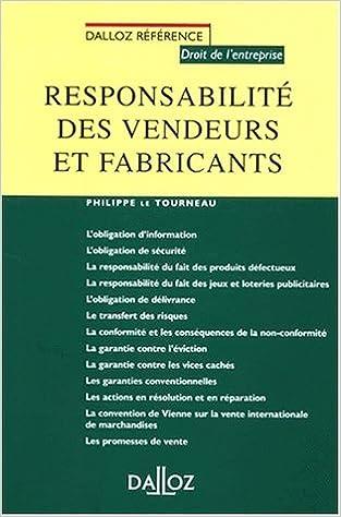 Lire Responsabilité des vendeurs et fabricants pdf