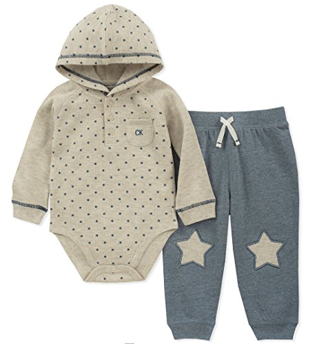 Calvin Klein Baby Boys 2 Pieces Bodysuit Pant Set, Oatmeal/Blue 3-6 Months