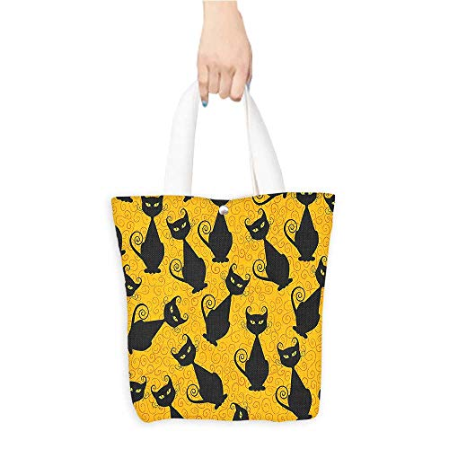 Canvas Handbag Cat Pattern Halloween Background Celebrati Graphic Patterns Black 100% Canvas, Printed W16.5 x H14 x D7 INCH