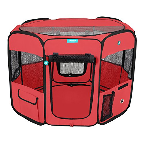 Deluxe Premium Pet Dog Playpen Portable Soft Dog Exercise Pen Kennel with Carry Bag for Dogs, Cats, Kittens, and All Pets (Medium, Red)