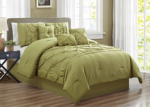 Grand Linen 7 Piece KING size Solid SAGE GREEN Double-Needle Stitch Puckered Pinch Pleat Stripe Includes 1 Comforter, 3 Decorative Pillows, 1 Bed Skirt, 2 (Stripe Sage Green)
