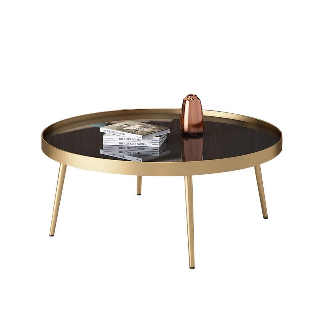 丸型コーヒーテーブル/ローテーブル、4本足のサポート、強化ガラス製卓上型、ハイエンドエンクロージャー、洗練されたミニマリスト、ホームリビングルーム用、黒 B07PSLBND6