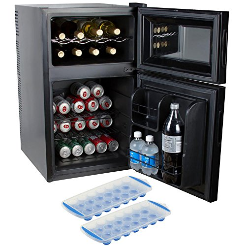 Kalorik 2-in-1 Beer or Soda and Wine Fridge Cooler (WCL 42513 BK) with 2 Free Ice (Beer Wine Refrigerators)