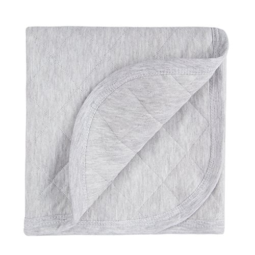 Super Soft Quilted Baby Blanket for Toddler Boys - 100% Jersey Cotton Stretchy, Reversible and Breathable, Thermal Triple Layers, Winter Warm Crib Blanket - 39x39 Heather Gray By TILLYOU