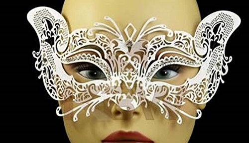 Luxury Mask Women's Laser Cut Metal Cat Mask Venetian Halloween Prom Mardi Gras (WHITE) (Feathered Masquerade Mask)