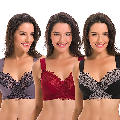 Curve Muse Plus Size Unlined Minimizer Wire Free Bra With Embroidery Lace-3Pack-GREY-BURGUNDY-BLACK-34D (Muse Womens)