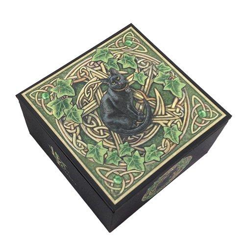 Lisa Parker Woodland Celtic Pentagram Black Mystic Cat Jewelry Mirror Box