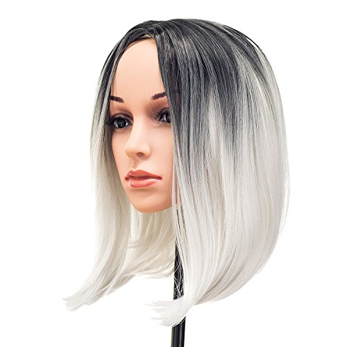 SWACC Ombre Colors Straight Short Hair Bob Wig Synthetic Colorful Cosplay Daily Party Flapper Wig for Women and Kids with Wig Cap (Grey)
