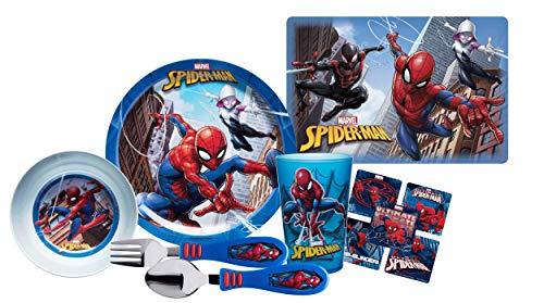 (Marvel Spider Man Kids 6pc Dinnerware Set! Plate, Bowl, Cup, Place-mat, Fork & Spoon! BPA-free! Plus Bonus Spiderman Character Stickers!)