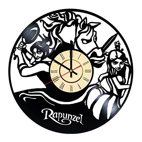 Fun Door Rapunzel Disney Cartoon Vinyl Record Wall Clock - Get unique kitchen, living room wall decor - Gift ideas for kids,baby,children- Unique kids art design