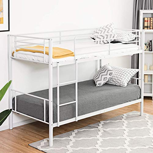 Costzon Twin Over Twin Bunk Bed, Twin Metal Loft Bed Frame W/Ladder for Boys & Girls Kids Children Bedroom Dorm (White)