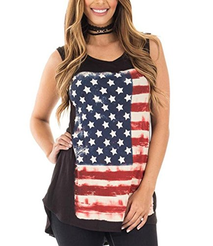 Price comparison product image Blouse, Han Shi Womens Flag Patchwork Sleeveless O-Neck Tank Crop Tops T-Shirt Tee (XL)