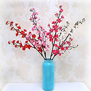 Silk Flowers - Peach Flower Artificial Cherry Spring Plum Blossom Branch Simulation Silk Fake Home Wedding Party - Chrysanthemum Wholesale Craft Plum Succulents Stem Orchard Home Leaves Bu 62