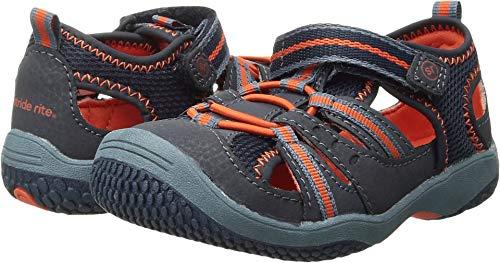 (Stride Rite Baby Riff Water Sandal (Infant/Toddler),Navy/Orange,4 W US Toddler)