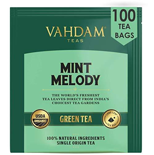 VAHDAM, te verde menta melodia, 100 unidades | Bolsitas de te de menta fresca de jardin | 100 bolsitas de te de menta natural | Bolsitas de te verde 100 Count | Te verde 100% natural