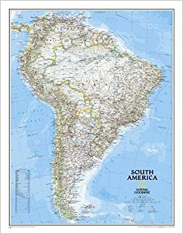 South America Classic tubed Wall Maps Continents NGPC620069