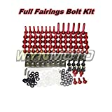 #10: WYNMOTO Complete Motorcycle Fairing Aluminum Fasteners Body Screws For Yamaha R6 2008 - 2016 YZF600 R6 08 09 10 11 12 13 14 15 16 New Bolt Kit Hardware Clips (Red)