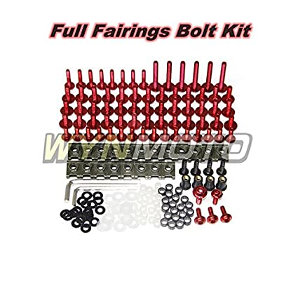 WYNMOTO US Stock Complete Motorcycle Fairing Aluminum Fasteners Body Screws For Yamaha R1 02-06 YZF1000 R1 2002 2003 2004 2005 2006 New Bolt Kit Hardware Clips (Red)