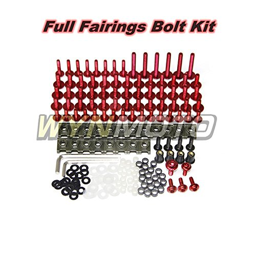 WYNMOTO Complete Motorcycle Fairing Aluminum Fasteners Body Screws For Yamaha R1 02 - 06 YZF1000 R1 2002 2003 2004 2005 2006 New Bolt Kit Hardware Clips (Red) (Complete Motorcycle)
