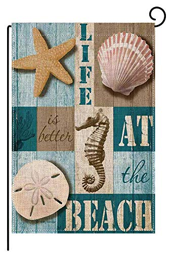 Bysincy Welcome Garden Flags Double Sided, Live is Better at The Beach Quotes House Yard Decoration,Burlap Shell Outdoor Flag 12.5 x 18 Inch -