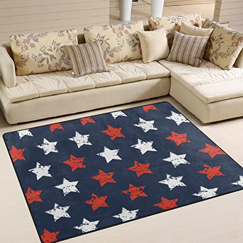 American Flag Day Fourth of July Independence Memorial Day Patriotic Freedom Stars Area Rug Pad Non-Slip Kitchen Floor Mat for Living Room Bedroom 5' x 7' Doormats Home Decor