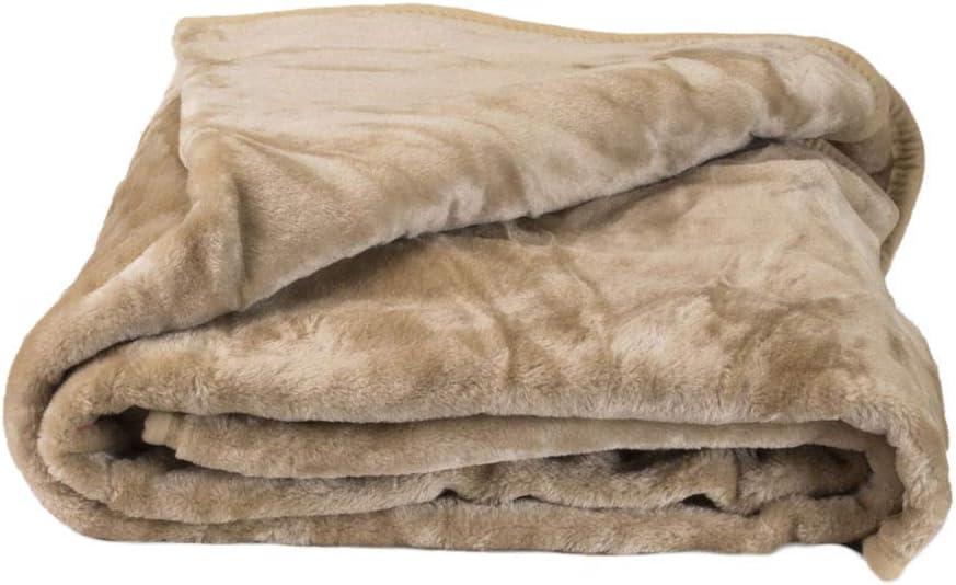 E4Emporium Soft Warm Mink Faux Fur Sofa Throw Over Bed Spread Fleece Blanket Black, Double