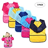 Womdee Kids Art Smocks Pack of 5, Stain Resistant Waterproof Children Art Aprons with Long Sleeve & 3 Roomy Pockets for Eating/Painting Ages 3-8 Years