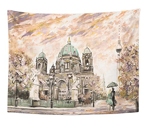 (Emvency Tapestry Artwork Wall Hanging Oil Painting on Canvas Street View of Berlin European Landscape in Sepia Green 60x80 Inches Tapestries Mattress Tablecloth Curtain Home Decor)