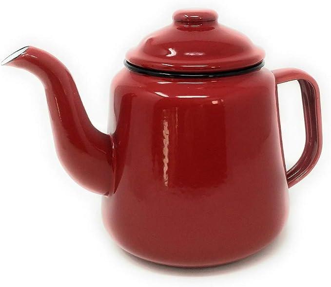 Falcon - Cafetera esmaltada (con asa y tapa, 1,5 L), color rojo ...