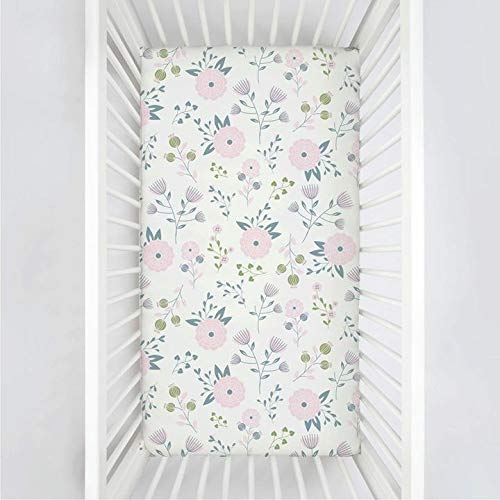 Pickle & Pumpkin Premium Graco Pack n Play Mattress Sheet | 100% Organic Jersey Cotton Pack and Play Fitted Sheet | 2 Pack | Perfect for Graco Playard and Playpen Mattress | Floral & Pink Design by Bouncy Baby (Image #1)