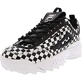 Fila Womens Disruptor II Leather Low Top Lace Up, Black Checkered, Size 9.5
