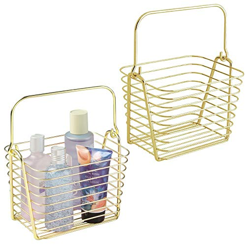 mDesign Farmhouse Metal Storage Organizer Basket Bin with Handle - Holds Hand Soap, Body Wash, Bath Salts, Lotion, Razors, Hand Towels, Hair Accessories, Body Spray - Small, 2 Pack - Gold Brass